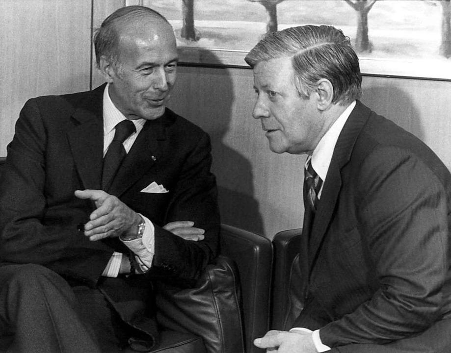 Valéry Giscard d'Estaing und Helmut Schmidt  | Foto: Heinrich Sanden (dpa)