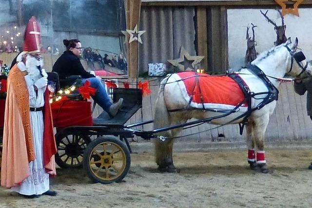 Nikolaus kommt in St. Peter mit Pferd und Kutsche