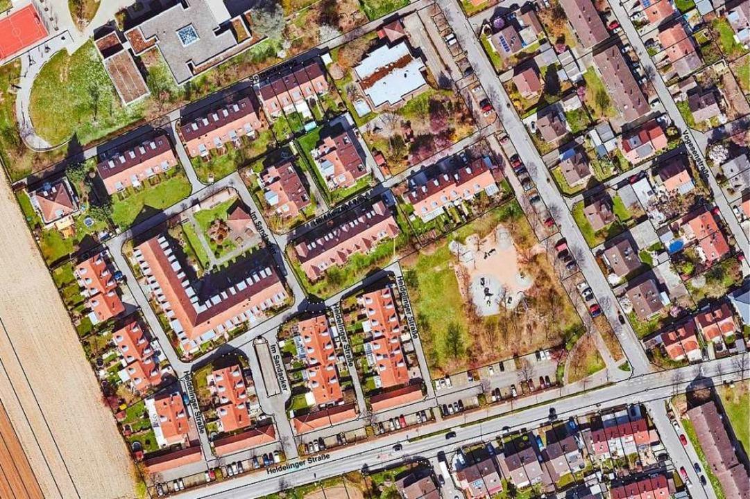 Das Wohngebiet Sandacker in Haltingen ...owie unter einer zentralen Tiefgarage.  | Foto: Stadtverwaltung Weil am Rhein