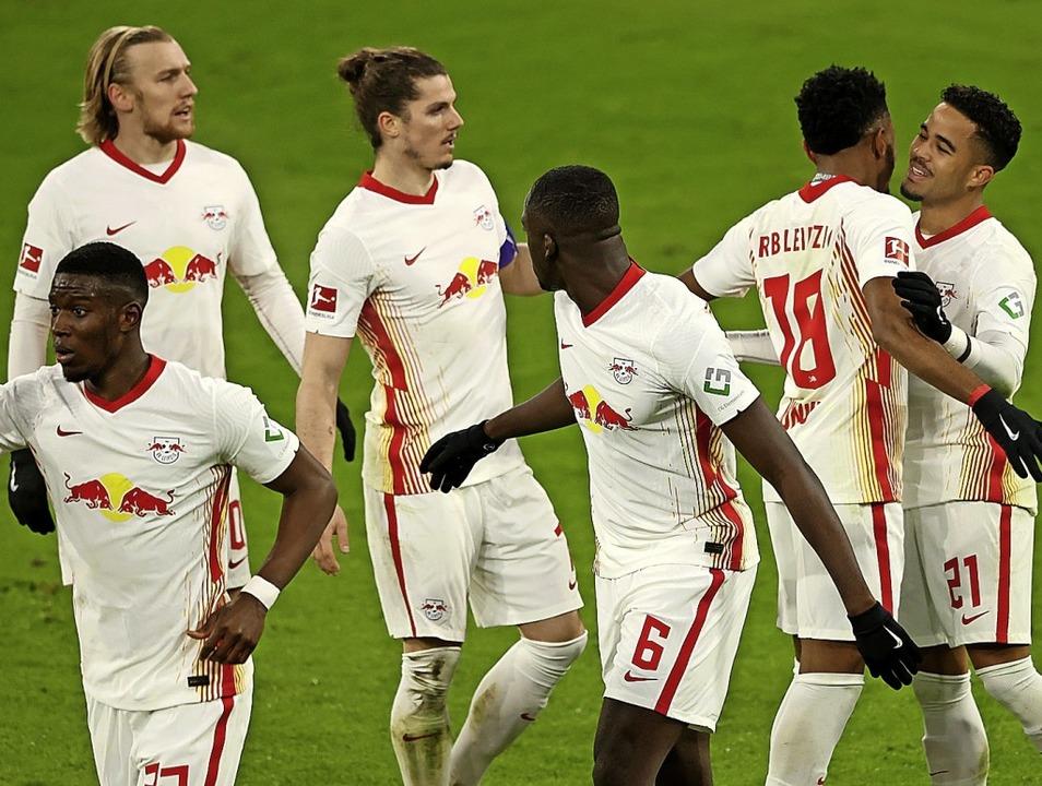RB Leipzig (hier beim 3:3 gegen die Bayern) steht vor einem Schlüsselmatch  | Foto: ALEXANDER HASSENSTEIN (AFP)
