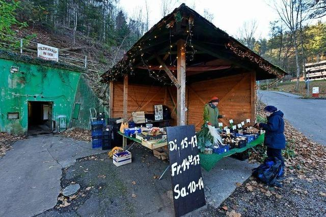 Am Bunkereingang am Schlossberg gibt's jetzt einen Marktstand
