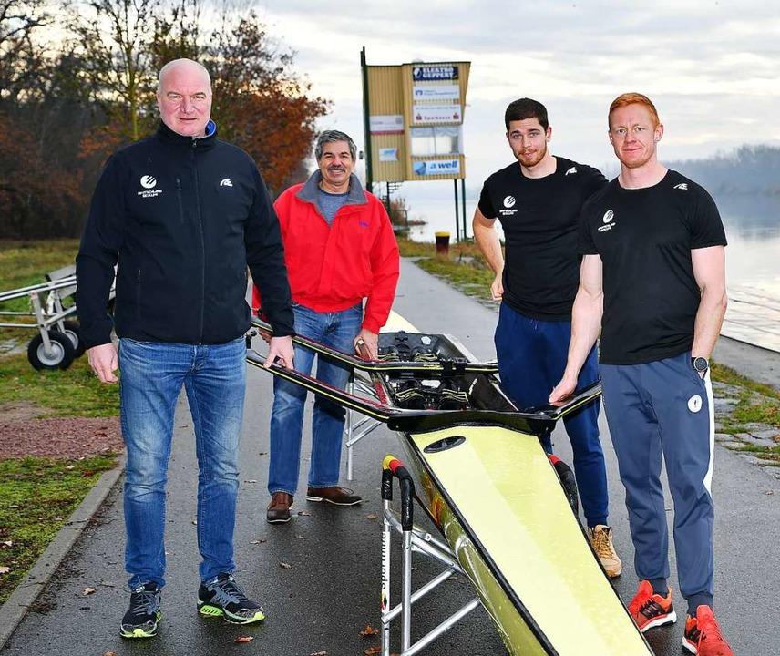 15 Trainingstage auf dem Rhein: Bundes...kullern Marc Weber und Stephan Krüger.    Foto: Achim Keller