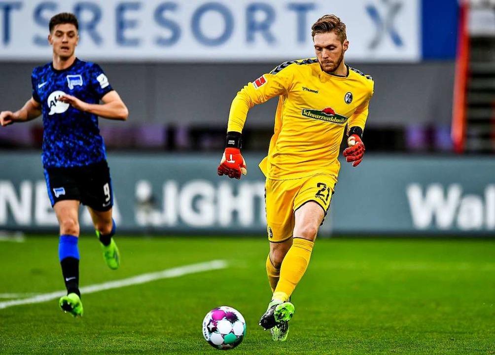 Florian Müller musste kurz vor Schluss...rade sein Können unter Beweis stellen.  | Foto: SC Freiburg/Achim Keller