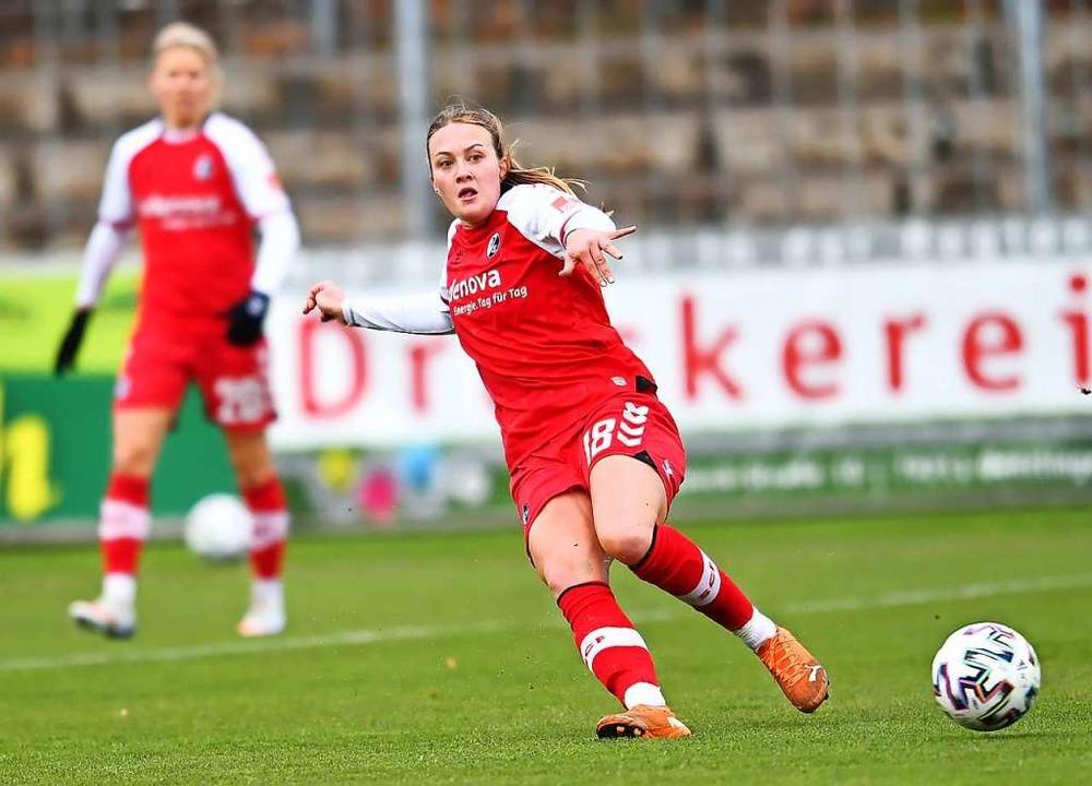 Stefanie Sanders traf zum zwischenzeitlichen Ausgleich für den SC.  | Foto: SC Freiburg/Achim Keller