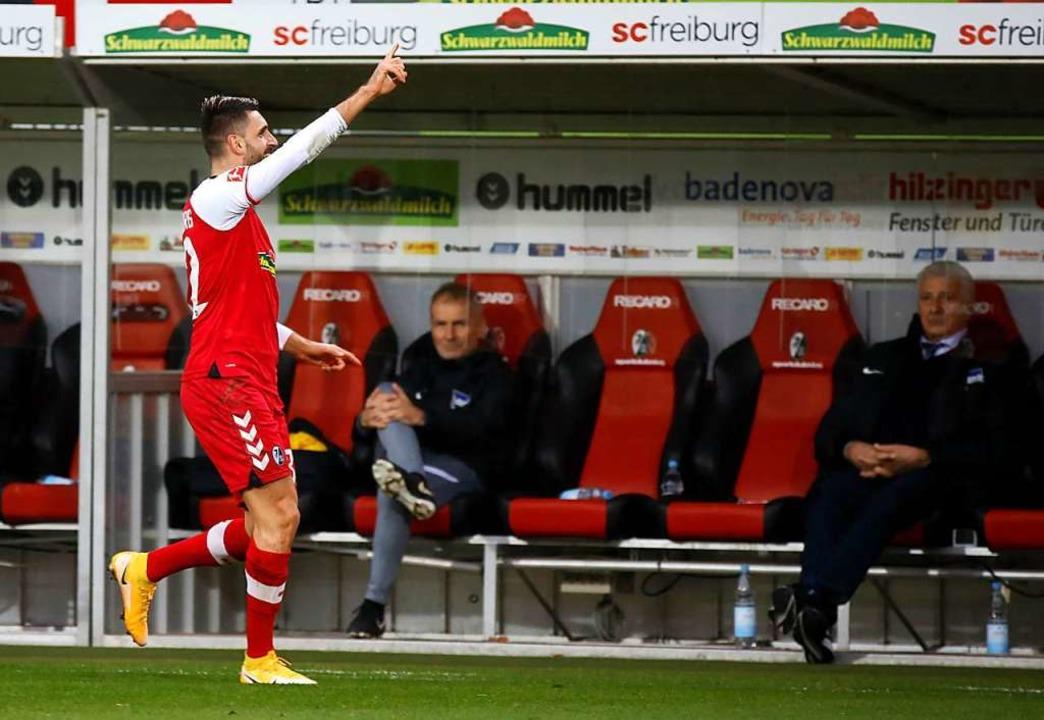 Grifo traf erstmals für den SC in der Bundesliga per Kopf.    Foto: Philipp von Ditfurth (dpa)