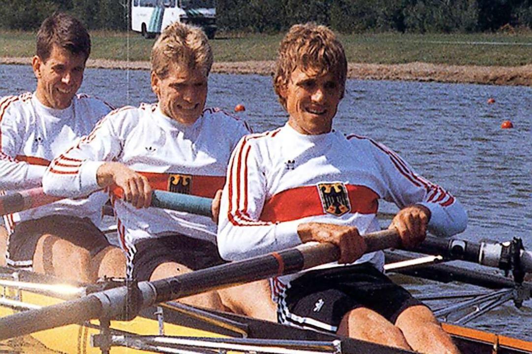 Wolfgang Birkner  (rechts) im WM-Achter 1987 in Nottingham    Foto: Privat
