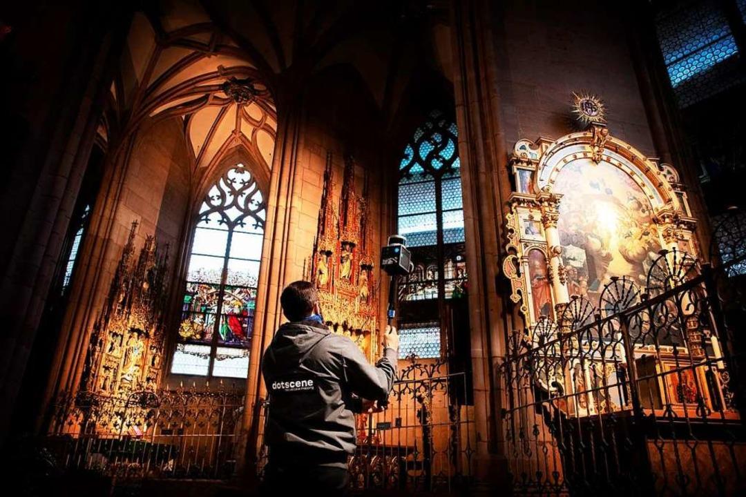 Das sieht unscheinbar aus, ist aber im...ulär: 3D-Scan im Inneren des Münsters.    Foto: Nicolas Trusch