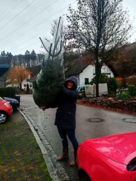 Den Baumkauf musste Milena Gehlert dieses Jahr alleine erledigen.  | Foto: Linnea Gehlert