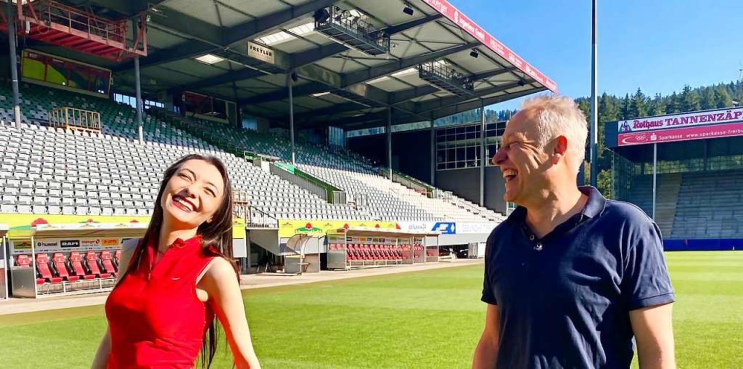 Die Pianistin und der Fußballtrainer: ...hrem Treffen im SC-Stadion in Freiburg  | Foto: Sacha Glunk/SC Freiburg