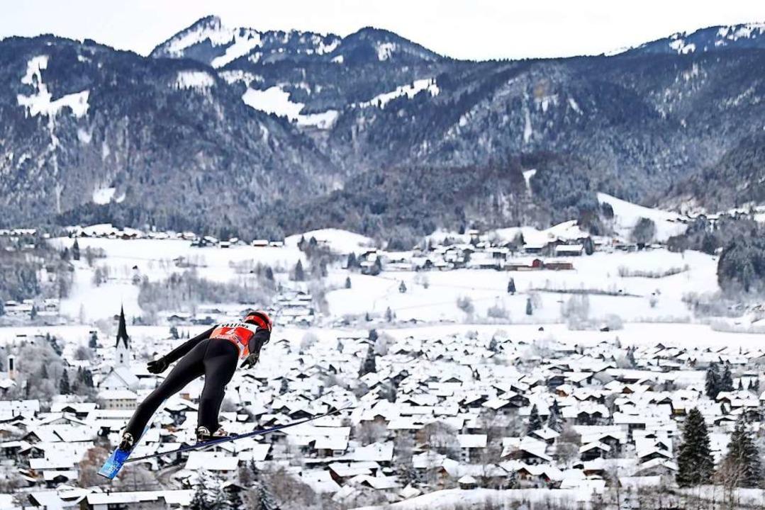 Der Schwarzwälder David Siegel im ersten Durchgang  | Foto: Daniel Karmann (dpa)