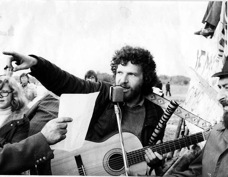 Mossmann 1974 bei der Besetzung der Bleifabrik in Marckolsheim.  | Foto: Später festlegen...