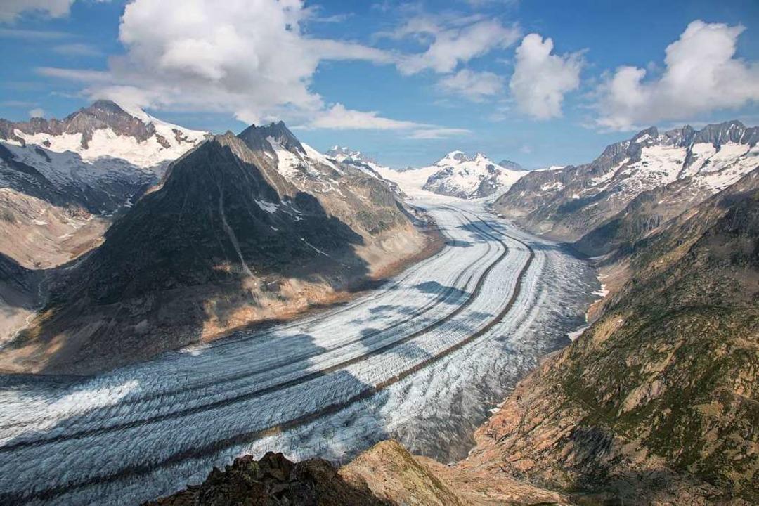 Der Klimawandel ließ auch 2020 wieder ...chgletscher in der Schweiz) schwinden.  | Foto: Christian Sommer (dpa)