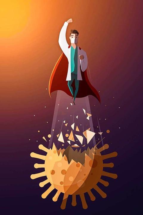 Super-Impfman gegen das Virus: Mit der...ionskrankheiten beherrschbar geworden.  | Foto: hatem  (stock.adobe.com)