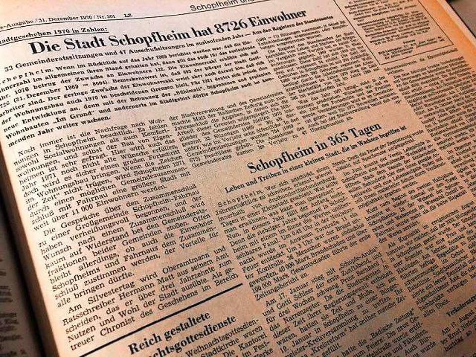 Die Schopfheimer BZ-Seite vom 31. Dezember 1970.    Foto: Nicolai Kapitz