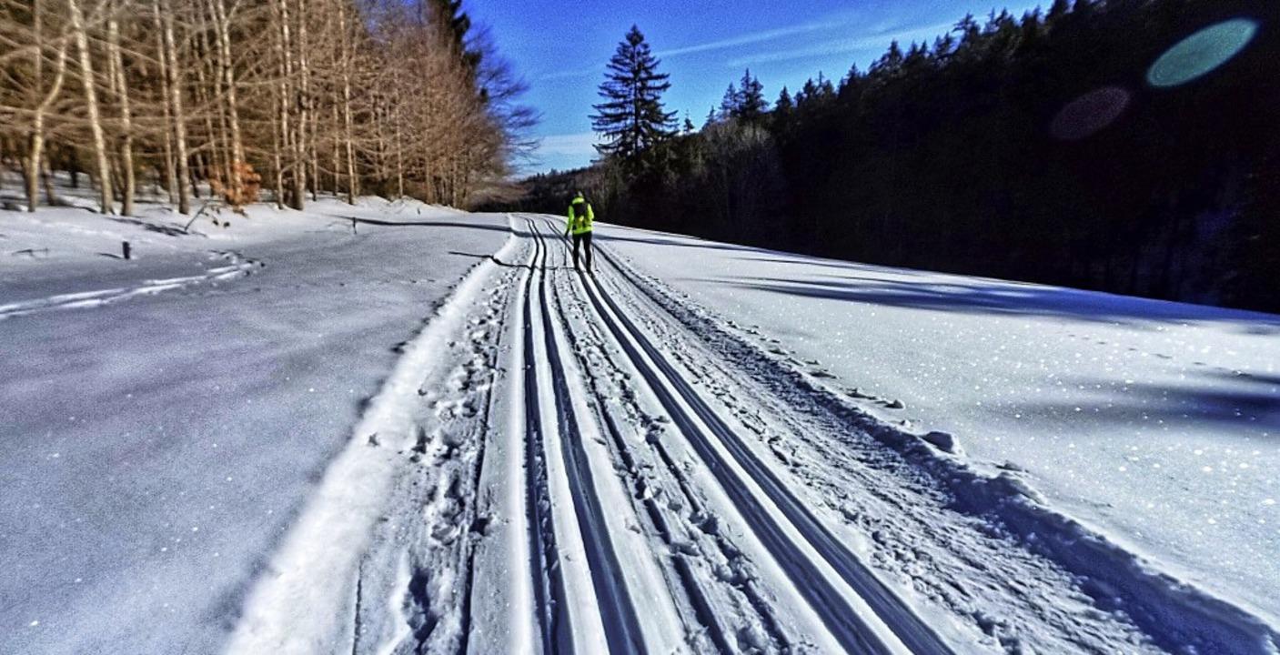 Immer schön in der Spur bleiben: Bei a...ch der Schwarzwald echtes Loipenglück.  | Foto: Anselm Bußhoff