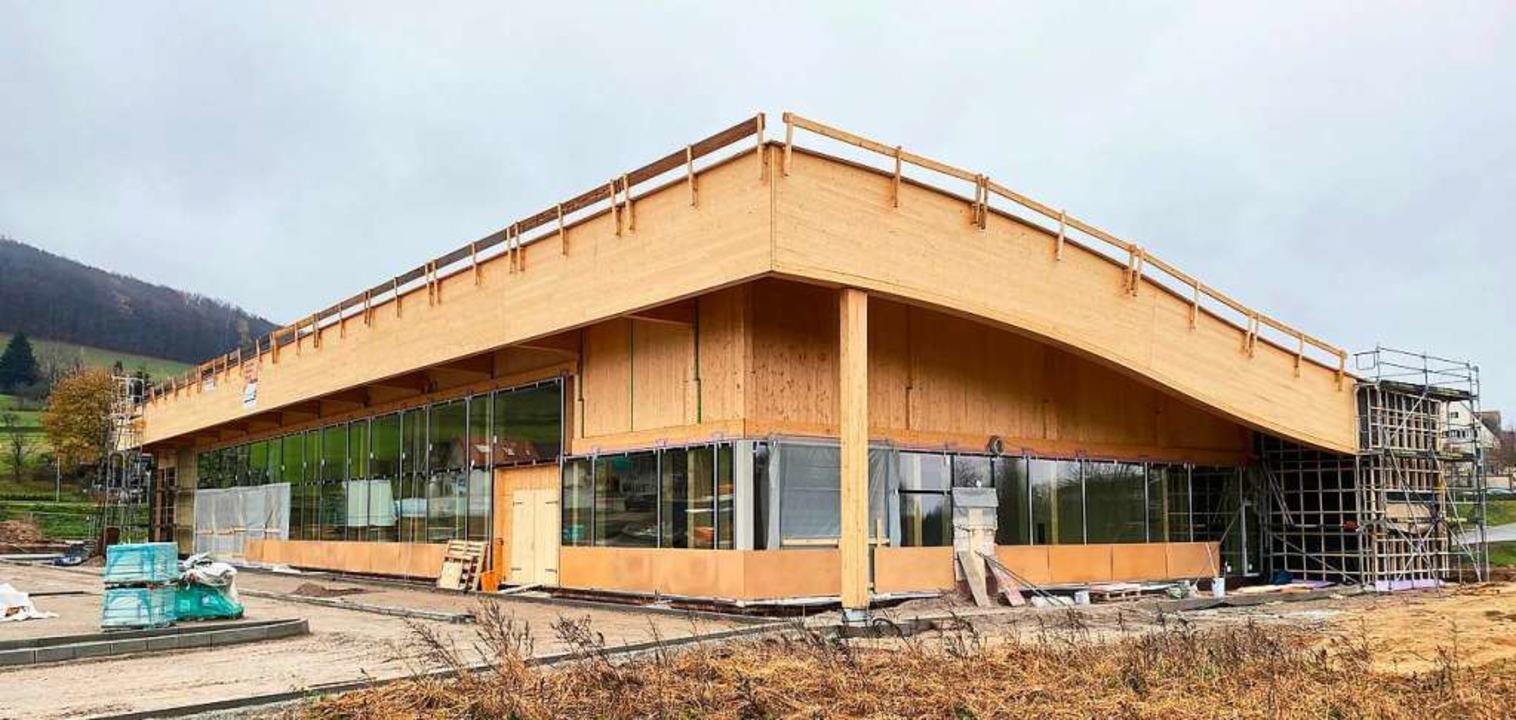 Aus Holz gebaut wird der Lebensmittelmarkt in Sölden  | Foto: Beckesepp