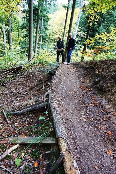 Eng ist es auch im Wald bei Au auf dem neuen Mountainbike-Trail.  | Foto: Julius Wilhelm Steckmeister