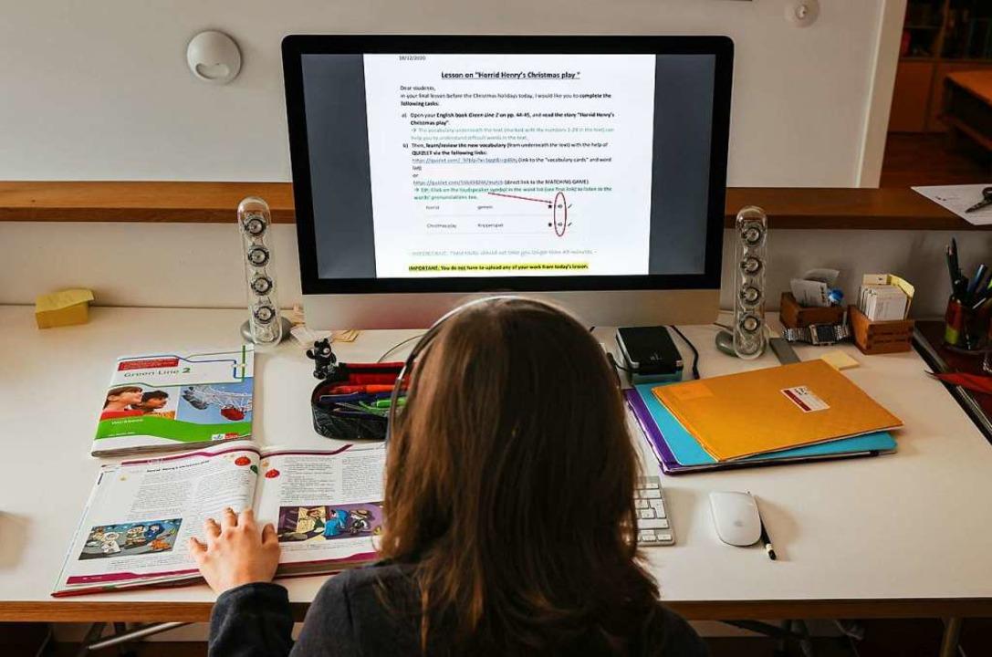 Hybrid- und Heimunterricht dürfte für ...chüler noch eine Weile Alltag bleiben.    Foto: Ulrich Perrey (dpa)