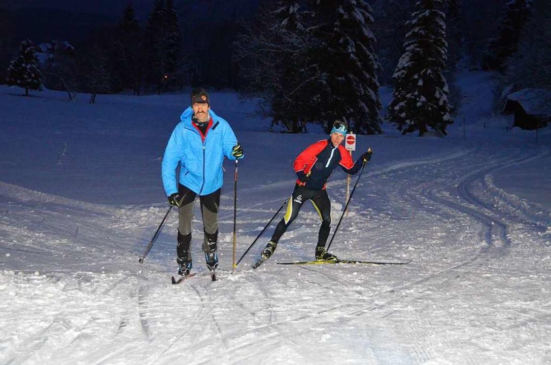 Erste  Langläufer erkundeten am Neujah...oipe beim Menzenschwander Skistadion.   | Foto: Christiane Sahli