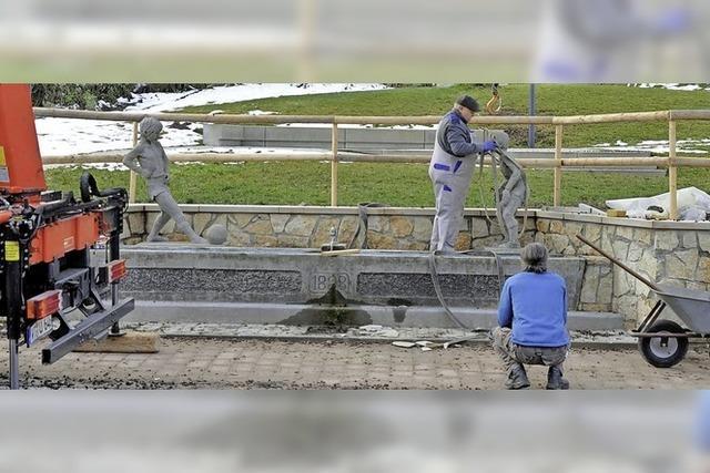 Der Fußballbrunnen kommt wieder in Form