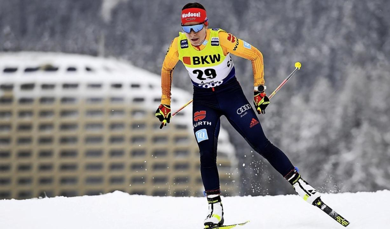 Deutsche Hoffnungsträgerin bei der Tour de Ski: Katharina Hennig  | Foto: Gian Ehrenzeller (dpa)