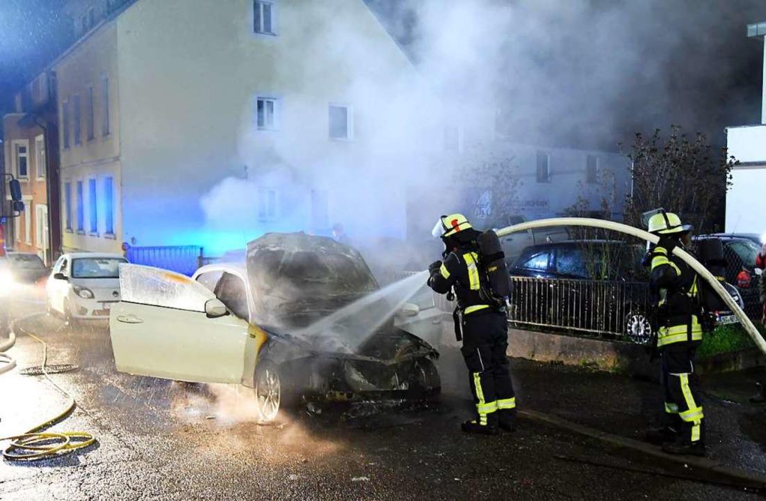 Die Feuerwehr konnte den Brand schnell löschen.    Foto: Wolfgang Künstle
