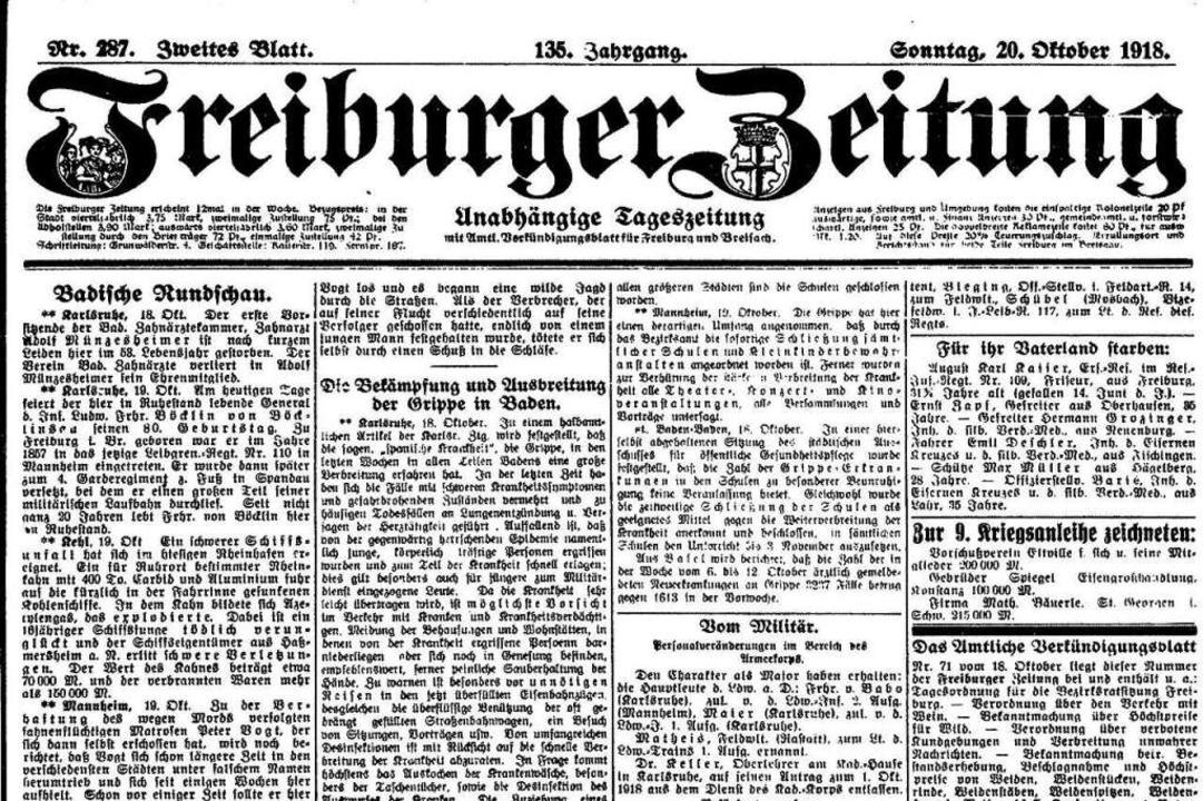 """Die Titelseite der Freiburger Zeitung ... in Baden"""" vom 20. Oktober 1918.    Foto: Freiburger Zeitung (Digitales Archiv der Universitätsbibliothek Freiburg i. Br)"""