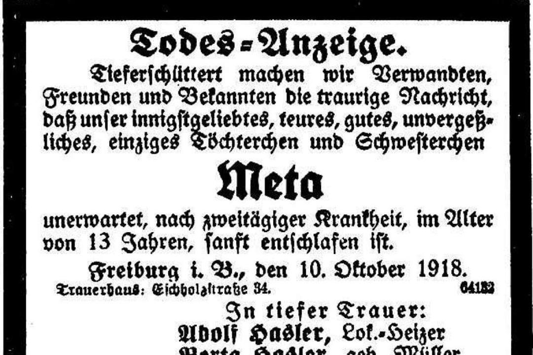 """Meta Hasler stirbt   """"unerwartet...#8220; – sie wurde 13 Jahre alt.    Foto: Freiburger Zeitung (Digitales Archiv der Universitätsbibliothek Freiburg i. Br)"""