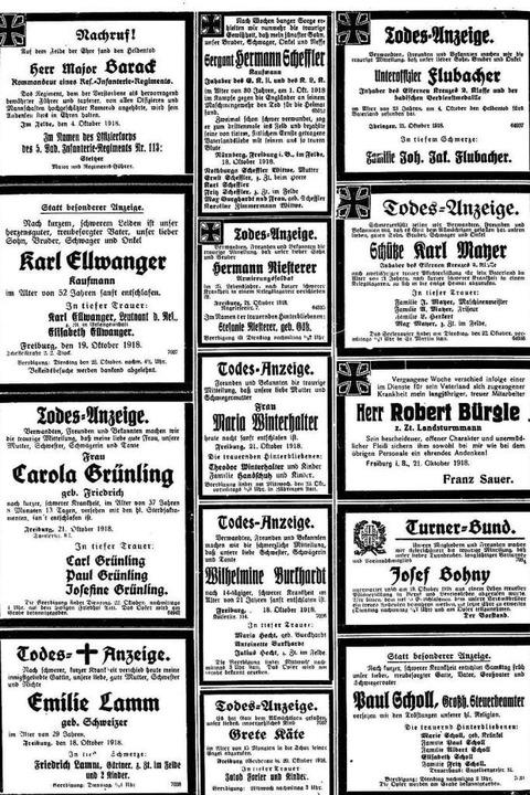 """Am 21. Oktober 1918 druckt füllen die ...Nach kurzer, schwerer Krankheit""""    Foto: Freiburger Zeitung (Digitales Archiv der Universitätsbibliothek Freiburg i. Br)"""