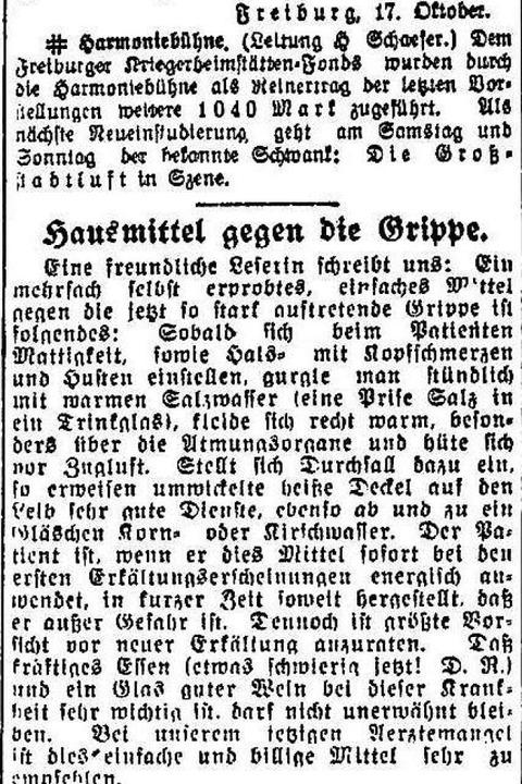 """Noch mehr Hausmittel gegen die Grippe:... Essen und ein Glas guter Wein.""""    Foto: Freiburger Zeitung (Digitales Archiv der Universitätsbibliothek Freiburg i. Br)"""