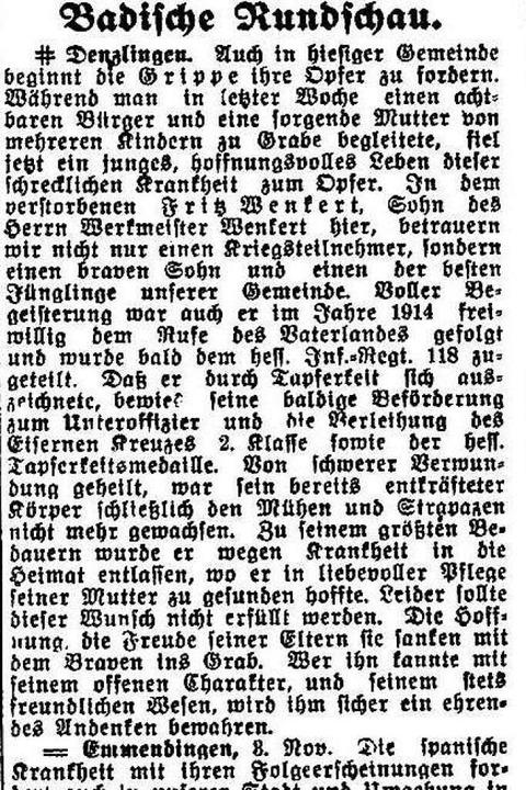 Meldungen aus Denzlingen und Emmending...ger Umland wütet die Spanische Grippe.    Foto: Freiburger Zeitung (Digitales Archiv der Universitätsbibliothek Freiburg i. Br)
