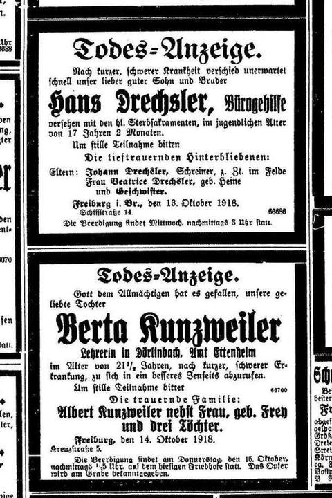 """Die Lehrerin Berta Kunzweiler ist 21 J...ach kurzer, schwerer Krankheit.""""    Foto: Freiburger Zeitung (Digitales Archiv der Universitätsbibliothek Freiburg i. Br)"""