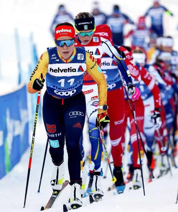 Hier in Führung, am Ende Zweite: Katharina Hennig  | Foto: Alessandro Trovati (dpa)