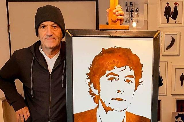 Ein Binzener Künstler porträtiert Drosten & Co. in seiner Rostmaltechnik