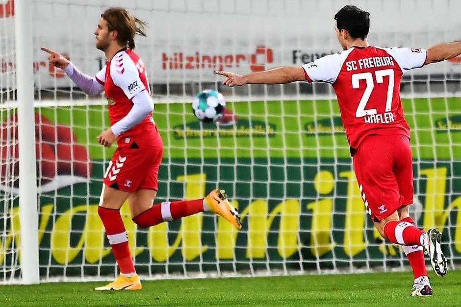 Fünf Mal durften die Freiburger jubeln: Am Ende stand ein 5:0-Heimsieg zu Buche. Rekord für die Freiburger, die noch nie fünf Bundesligasiege in Folge einfahren konnten. (Foto: SC Freiburg/Achim Keller)