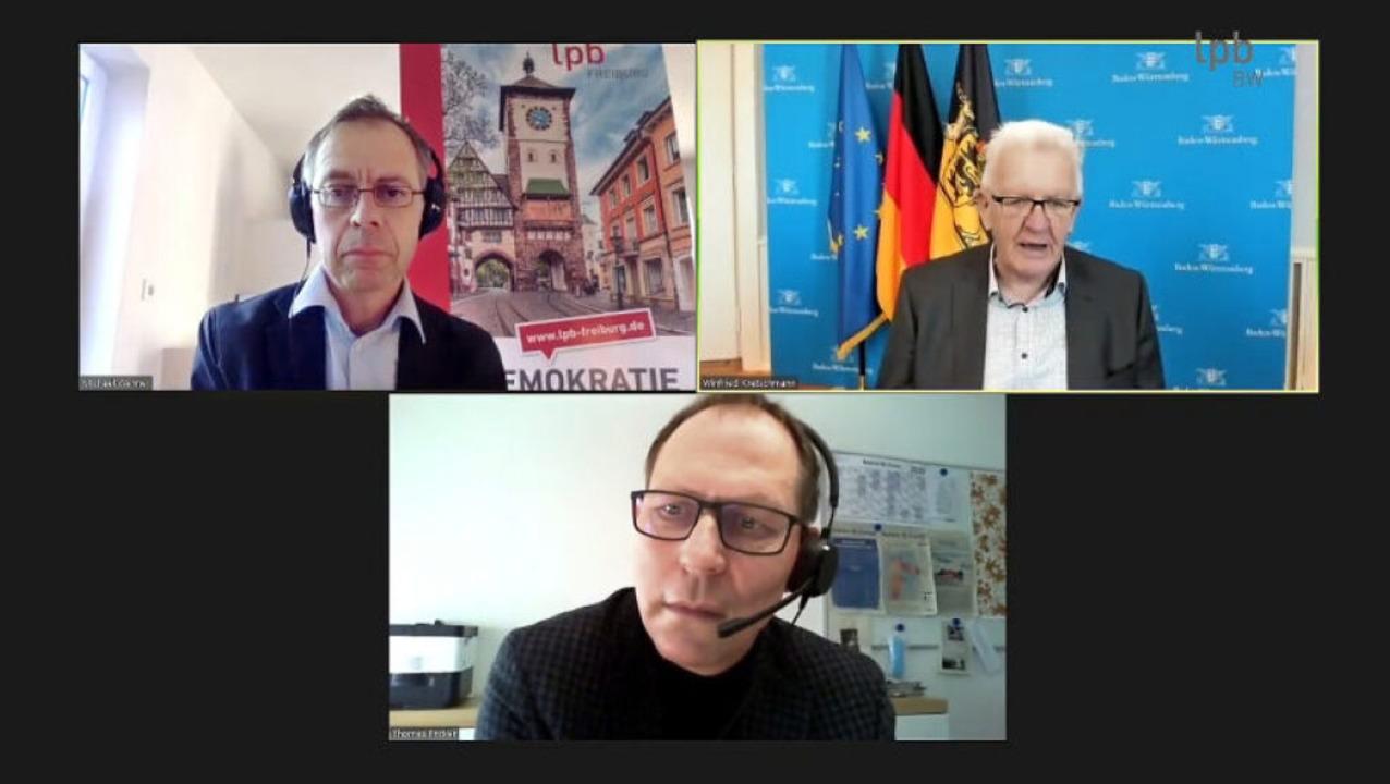 Winfried Kretschmann (oben rechts) im ...ehner (oben links) und Thomas Fricker.  | Foto: Screenshot