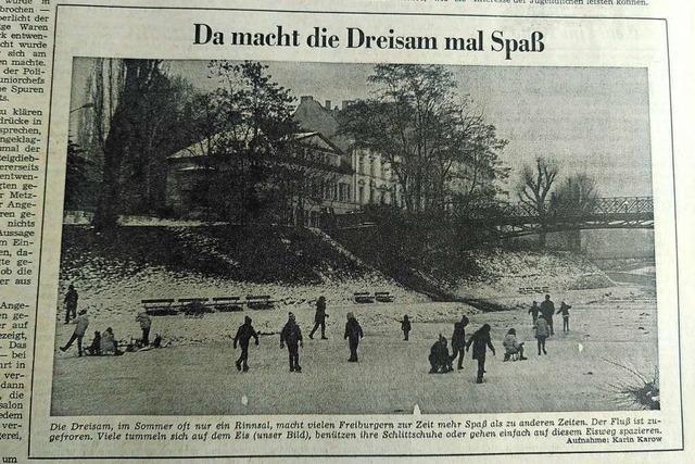 Im Januar 1971 war die Dreisam zugefroren – und die Haslacher schimpften