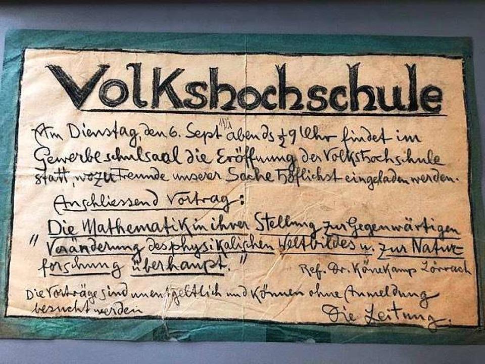 So wurden VHS-Veranstaltungen im Jahr 1921 angekündigt.  | Foto: Archiv VHS Kandern