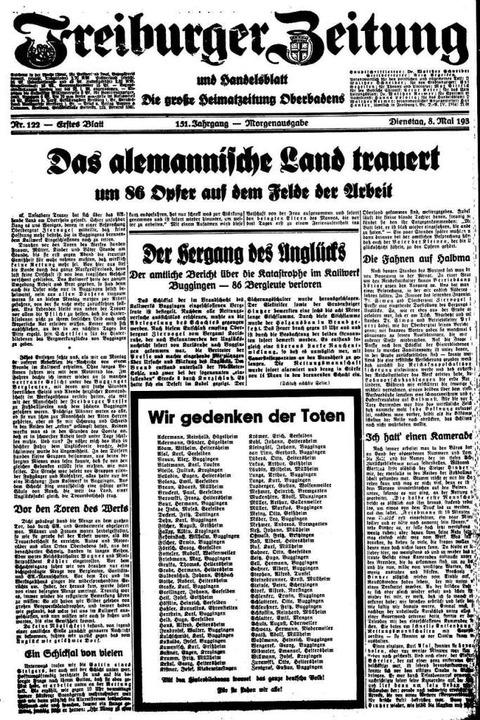 Am Tag nach dem tragischen Grubenbrand...ten Seite die Namen aller 86 Toten ab.  | Foto: Freiburger Zeitung