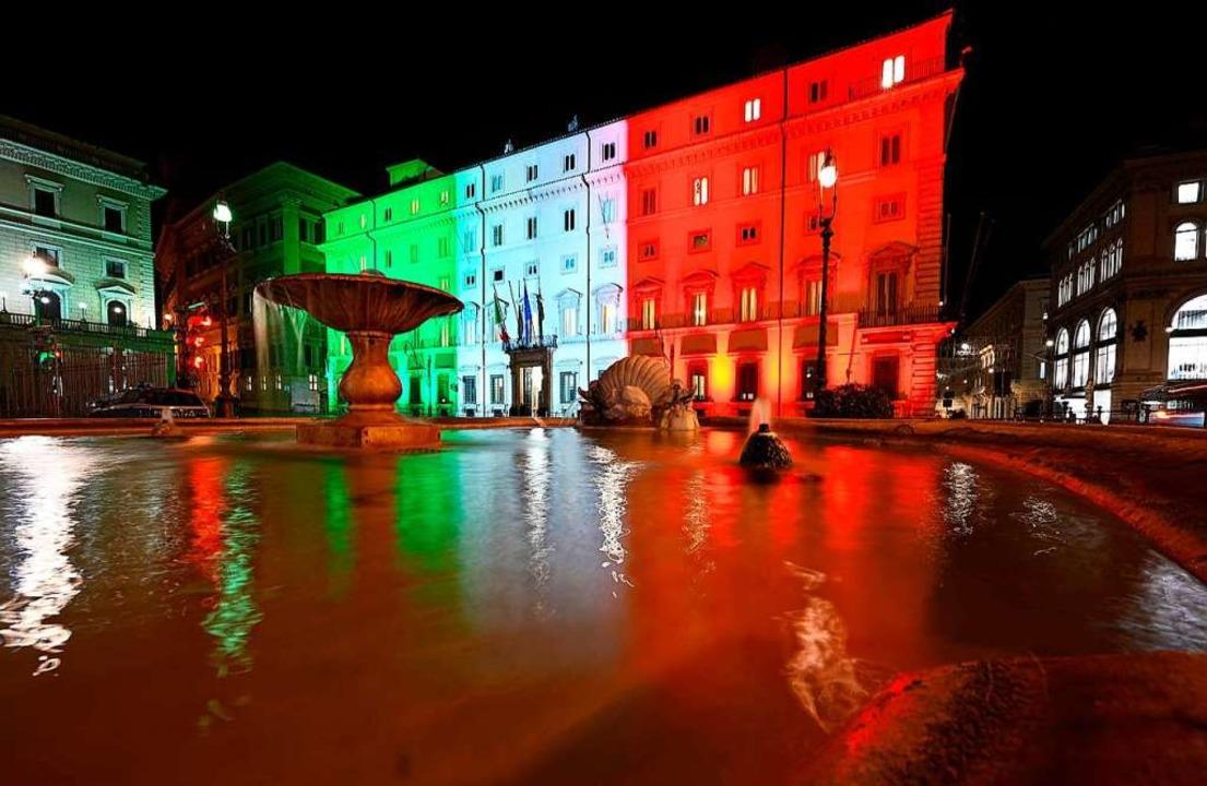 Der Palazzo Chigi, Sitz der italienischen Regierung, in Rom.    Foto: VINCENZO PINTO (AFP)