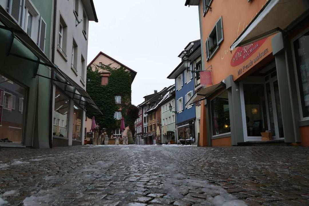 Die Innenstadt von Bad Säckingen ist im Lockdown wie ausgestorben.  | Foto: Stefan Mertlik