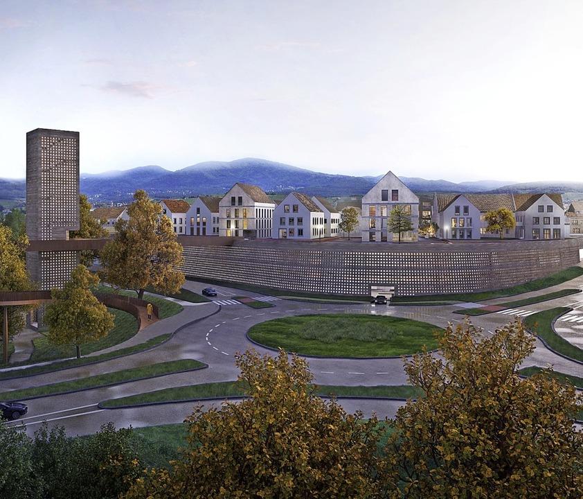 Die Rohbauarbeiten zum Parkhaus sollen...önnte es aussehen, wenn es fertig ist.    Foto: MONO Architekten Greubel & Schilp & Schmidt PartGmbB