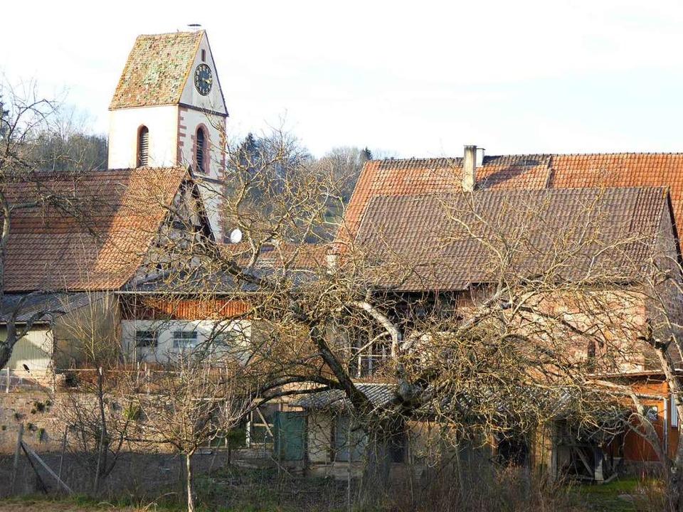Blick auf den Hauinger Kirchturm vom Platz hinter der Halle aus  | Foto: Sabine Ehrentreich