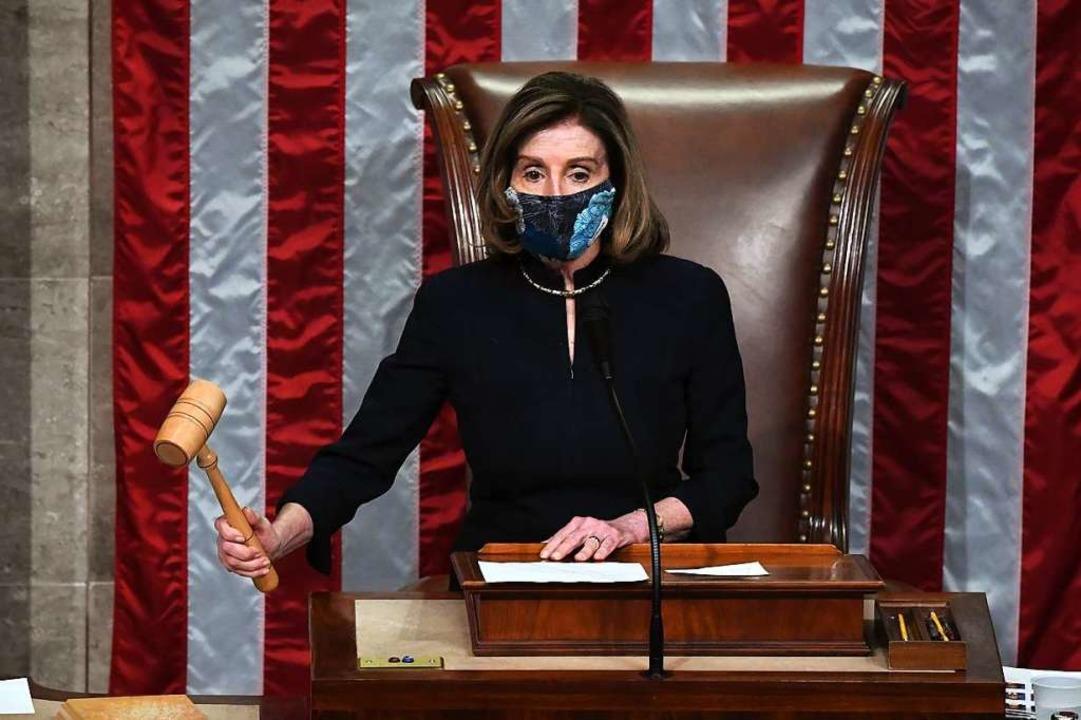 Haussprecherin Nancy Pelosi am Mittwoch im Repräsentantenhaus.  | Foto: SAUL LOEB (AFP)