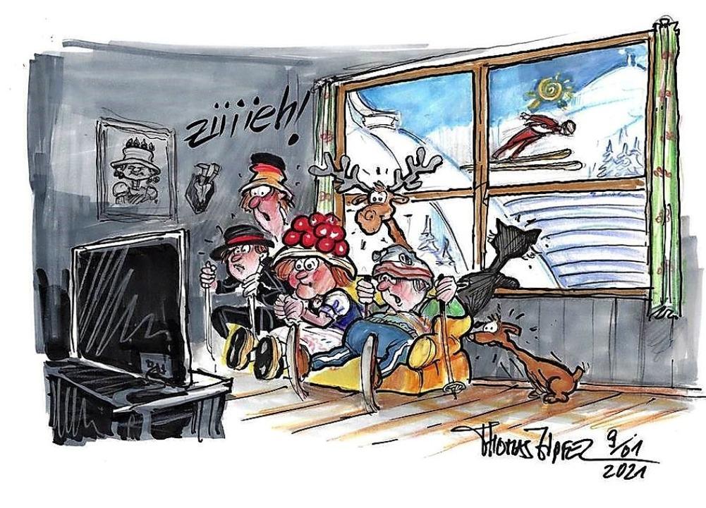 Wo ist die Maske? Skispringen unter Co... Hochfirstschanze in gähnende Leere.    | Foto: Repro Thomas Zipfel