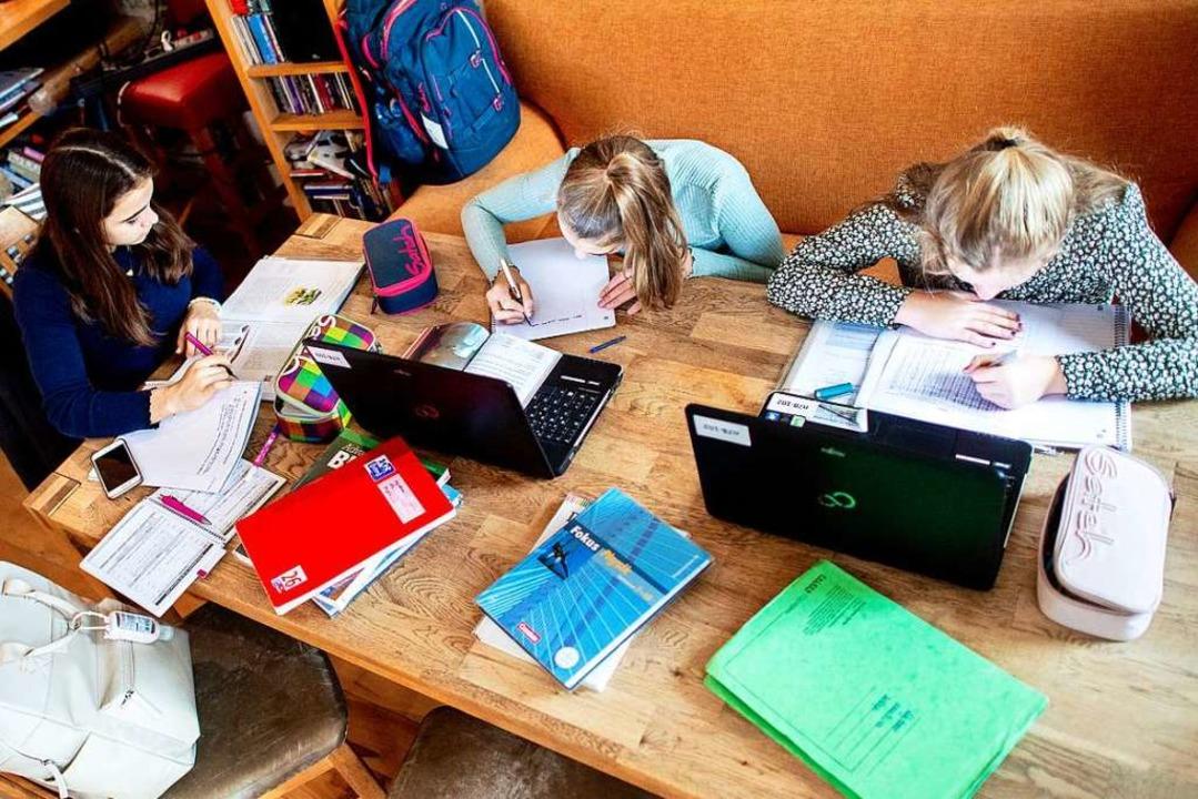 Es ist weiter Home-Schooling angesagt:...m Unterricht am Esstisch (Symbolbild).  | Foto: Hauke-Christian Dittrich (dpa)