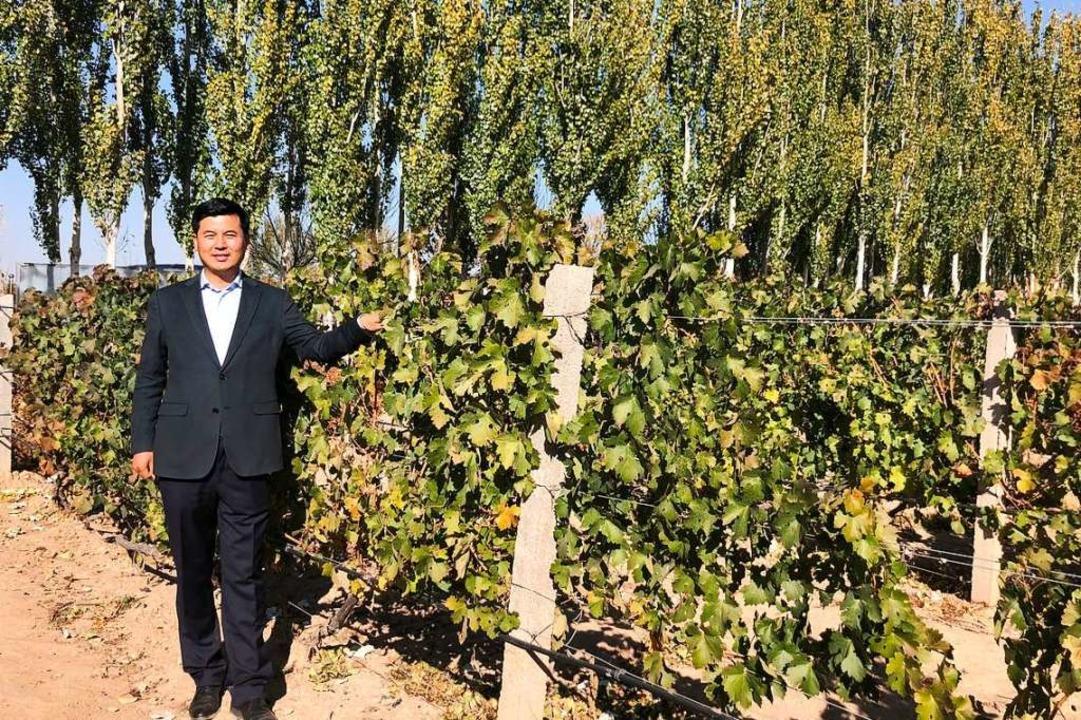 Stolzer Winzer:  Shao Qingsong vor einem Teil seiner Reben.   | Foto: Fabian Kretschmer