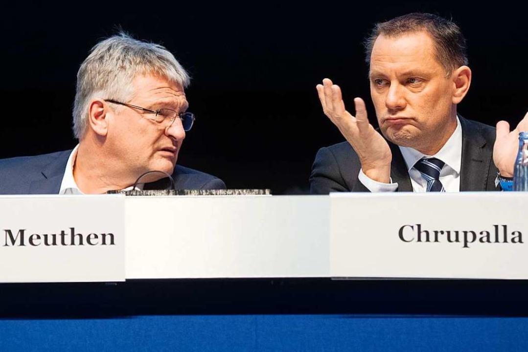 Jörg Meuthen und Tino Chrupalla beim Bundesparteitag der AfD  | Foto: Julian Stratenschulte