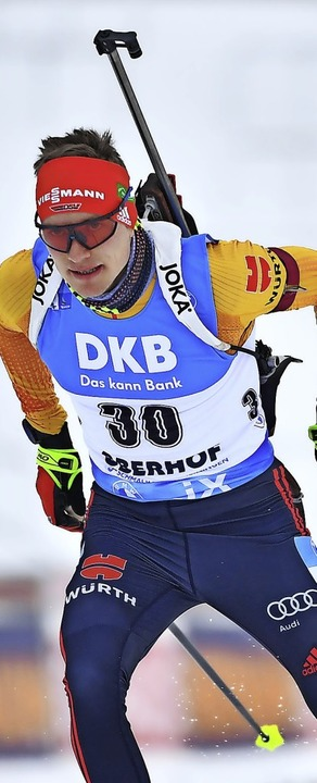 Mit neuem Skimodell auf Rang elf: Biathlet Benedikt Doll  | Foto: Martin Schutt (dpa)