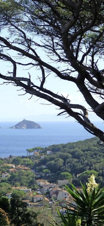 Über Cavo blickt man auf die winzige Isola dei Topi, die Mäuseinsel.  | Foto: Florian Sanktjohanser (dpa)